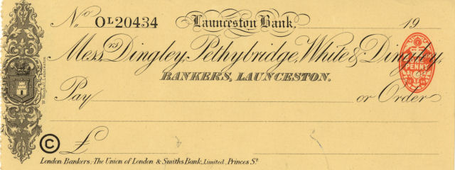 Cheque form of Launceston Bank, 1920s © RBS 2018