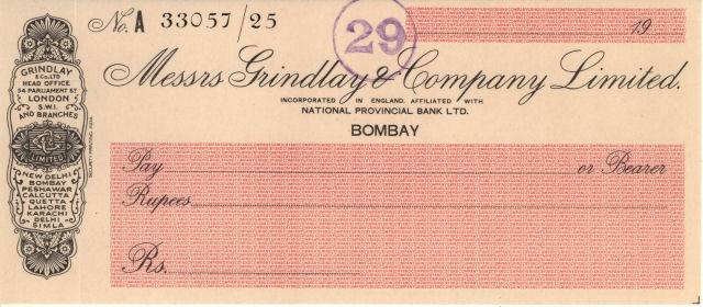 Cheque form of Bombay branch of Grindlay & Co Ltd, c.1930 © RBS 2018