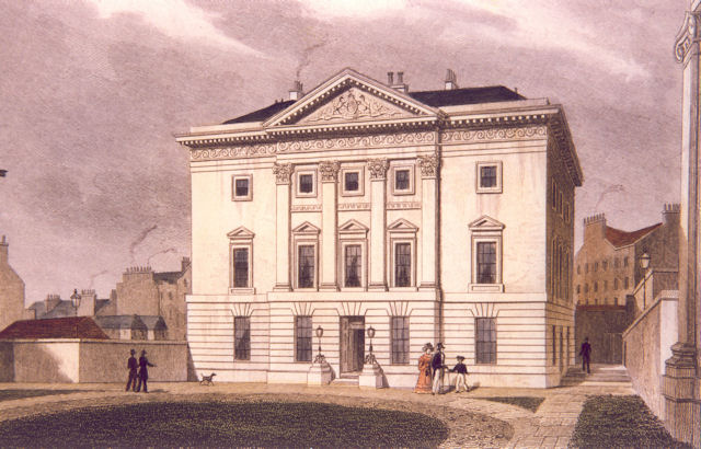 Engraving by Thomas Hosmer Shepherd of Dundas House, Edinburgh, now the registered office of The Royal Bank of Scotland, 1826 © RBS 2018