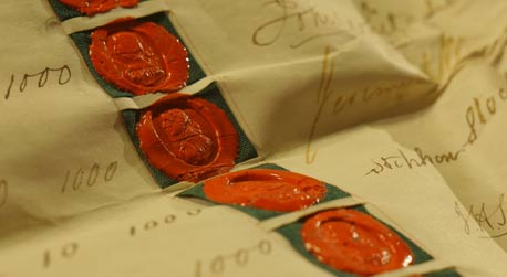 Seals and signatures on the document establishing Lancaster Joint Stock Banking Co, 1826