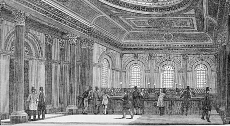 Banking hall of National Bank of Scotland's Glasgow branch, 1870s