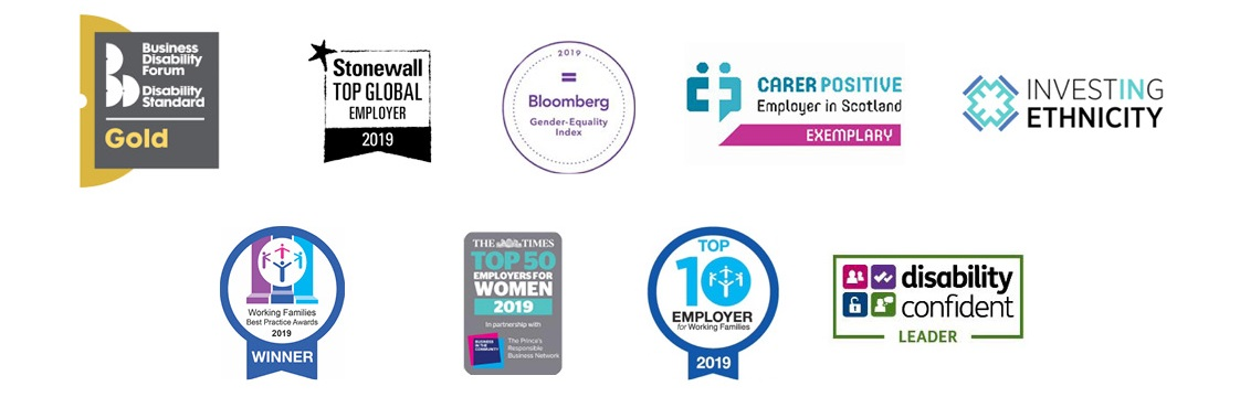 Series of logos for employer awards won by RBS for 2019