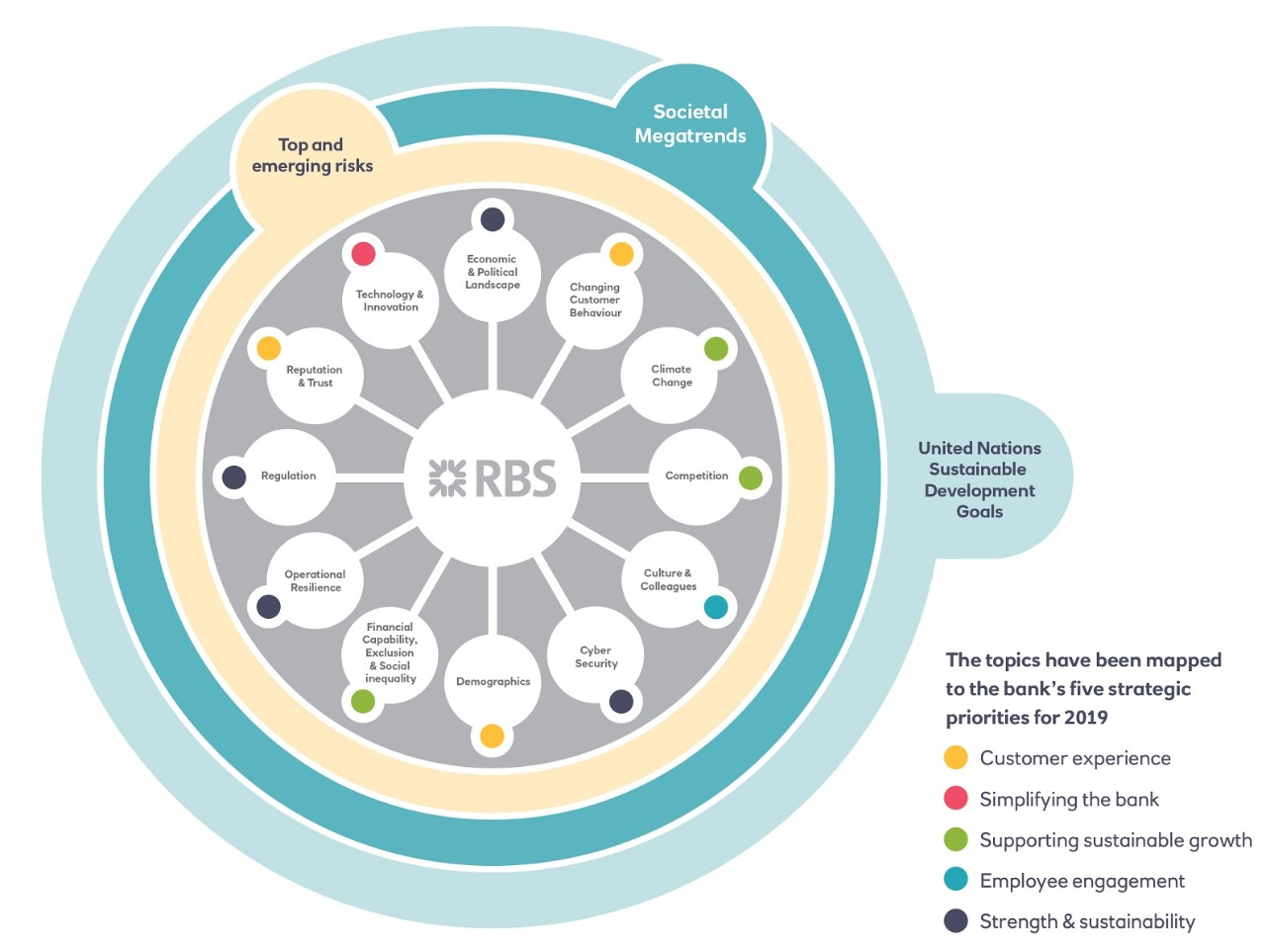 Circular chart showing RBS topics mapped to the five strategic priorities for 2019