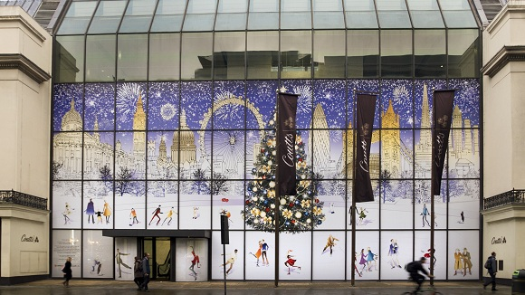Christmas decorations in Coutts London building