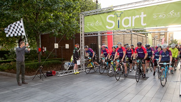 RBS Prince's Trust Cyclists at starting line