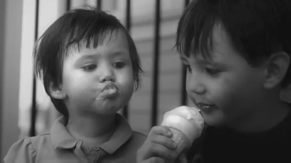 Children eating ice cream in NatWest TV advertisement