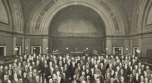 RBS employees in branch during WW1 era