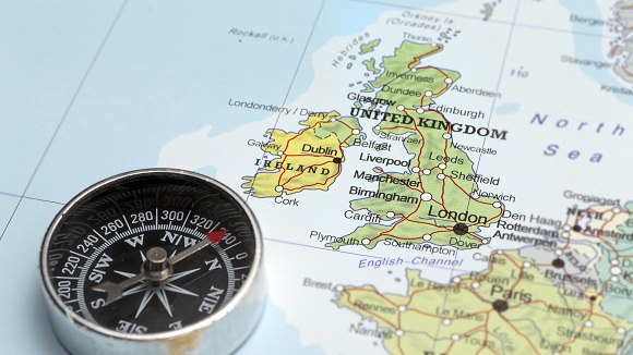 Compass and UK map