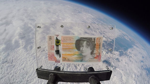 Royal Bank of Scotland's new polymer £10 note in space with planet Earth in the background
