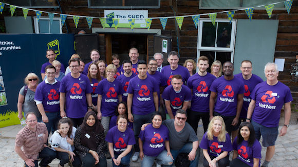 A group of NatWest volunteers at The Conservation Volunteers