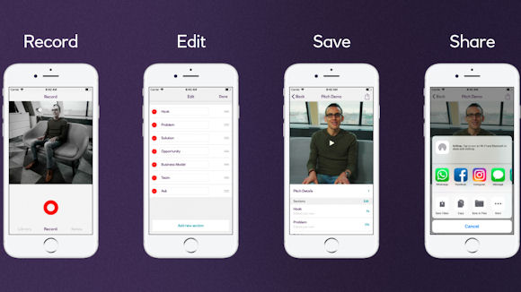 A visual showing capabilities of the NatWest Pitch app, including record, edit, save and share