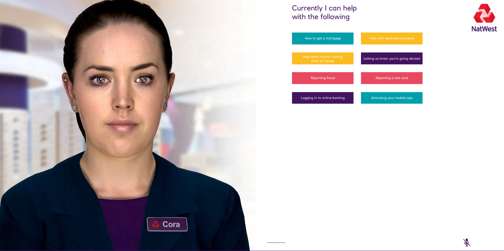 a visual of Cora, NatWest's AI driven digital human which is in pilot