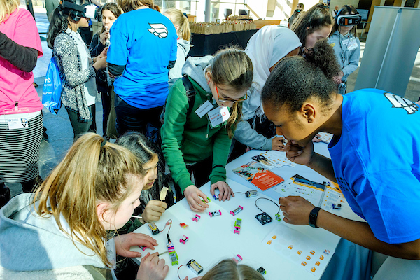 girls at a royal bank of Scotland event aimed at inspiring girls to pursue careers in science. technology, engineering and maths