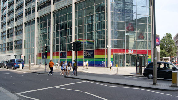 NatWest recently 'wrapped' its Bishopsgate office in Pride flag colours