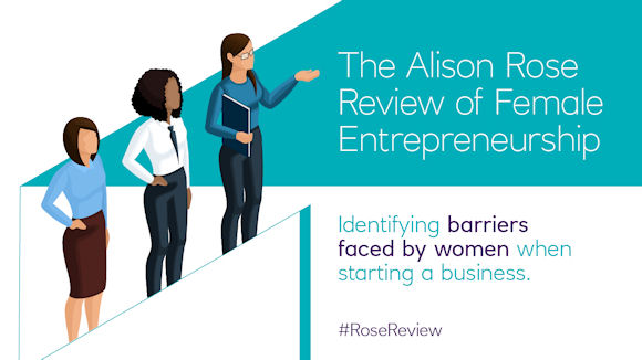 Graphic introducing the Alison Rose Review on Female Entrepreneurship